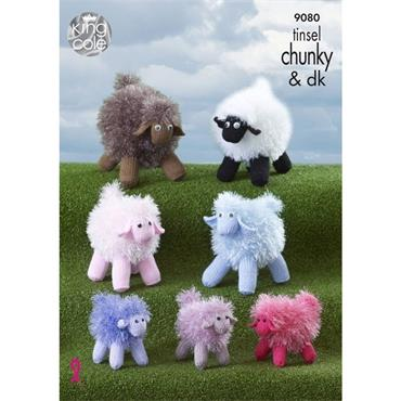 King Cole Pattern #9080 Sheep Knitted in Tinsel