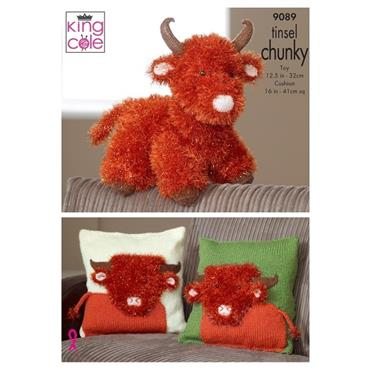 King Cole Pattern #9089 Highland Cow & Cushion Covers in Tinsel