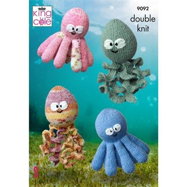 King Cole Pattern #9092 Octopus & Squid Toys Knit in DK