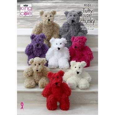 King Cole Pattern #9101 Teddy Bears in Tufty Super Chunky