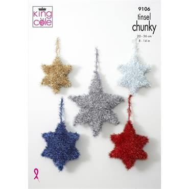 King Cole #9106 Tinsel Stars Knitted in Tinsel Chunky