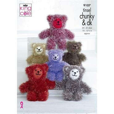 King Cole #9107 Tinsel Teddies Knitted in Tinsel Chunky & Dollymix DK