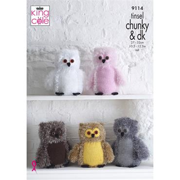 Pattern #9114 Owls Knitted in Tinsel Chunky