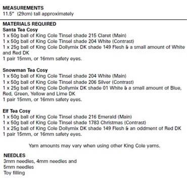 King Cole #9118 Christmas Tea Cosies
