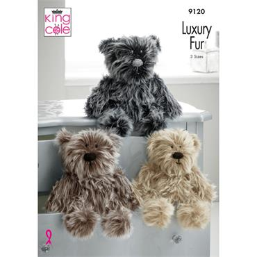 King Cole Luxe Fur Pattern #9120 Teddy Bears