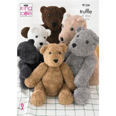 King Cole Pattern #9134 Teddies in Truffle