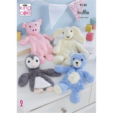 King Cole Pattern #9145 Flat Snuggle Toys in Truffle