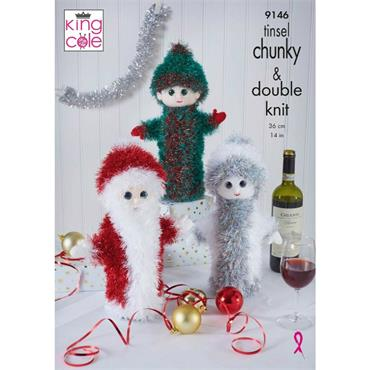 Pattern #9146 Christmas Wine Bottle Covers in Tinsel and Dollymix DK