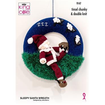 King Cole Pattern #9147 Sleepy Santa Wreath