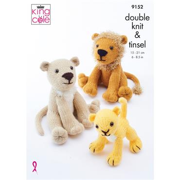 King Cole Pattern #9152 Lion Family in Big Value DK & Tinsel Chunky