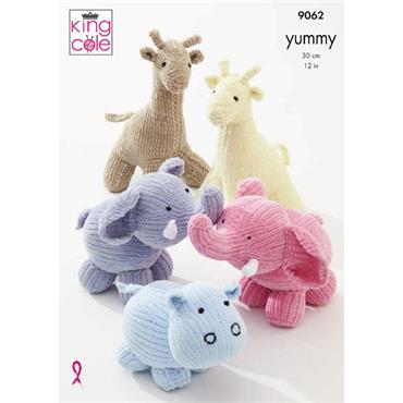 King Cole Pattern #9062 Giraffe, Hippo, Elephant, Toys in Yummy