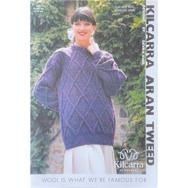 Kilcarra Pattern #200 Ladies Diamond Patterned Sweater in Aran Tweed