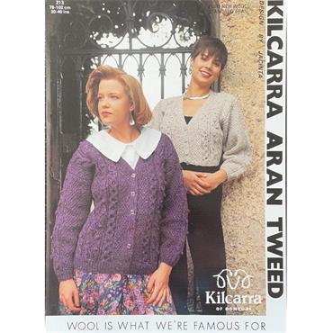 Kilcarra Pattern #213 Ladies Aran Patterned Cardigan