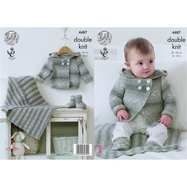 King Cole Pattern #4487 Hooded Jacket, Blanket and Bootees