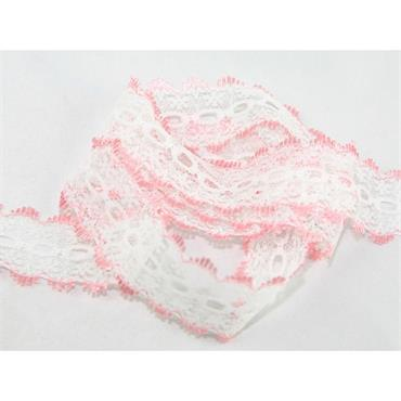 Dovecraft Knitting in Lace White & Pink x 1 Metre