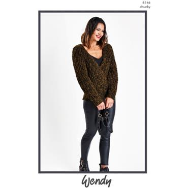 Wendy Pattern #6146 V Neck Sweater in Noir Chunky