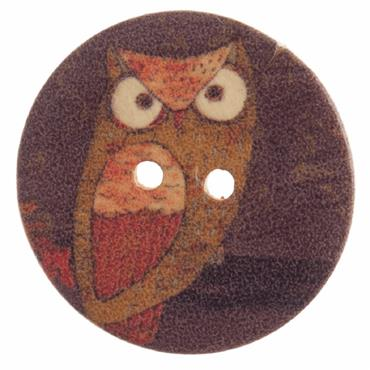 Owl Craft Button - 25mm    ***