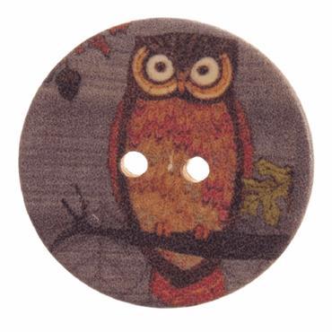 Owl Craft Button - 30mm