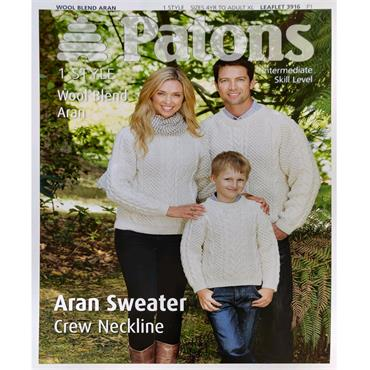Patons Pattern #3916 Family Traditional Aran Sweater Crew Neckline