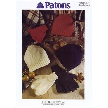 Patons Pattern #4847 Hats, Mitts & Gloves (Family Sizes)