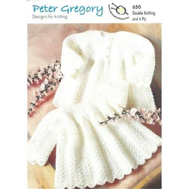 Peter Gregory Pattern #650 Baby Dress & Matiness in DK and 4 Ply
