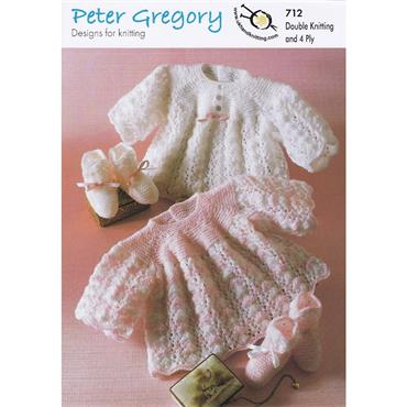 Peter Gregory Pattern #712 Angel Top & Bootees in Double Knitting & 4 Ply