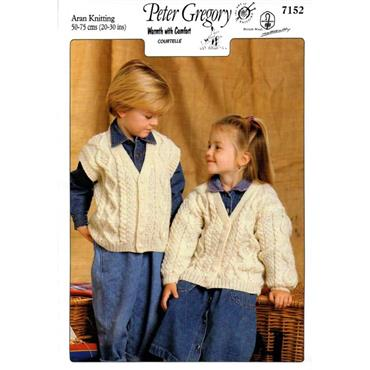 Peter Gregory Pattern #7152 Cardigan & Waistcoat in Aran