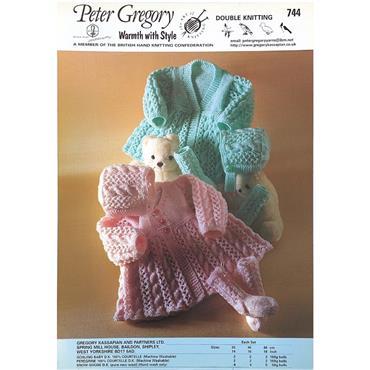 Peter Gregory Pattern #744 Matinee Coats, Bonnet & Socks in Double Knitting
