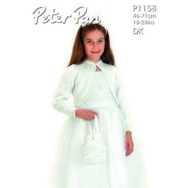 Peter Pan #1158 Knit Communion Bolero & Bag in DK