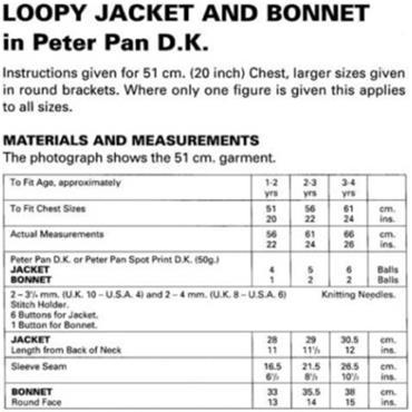 Peter Pan #P828 Loopy Jacket & Bonnet in DK