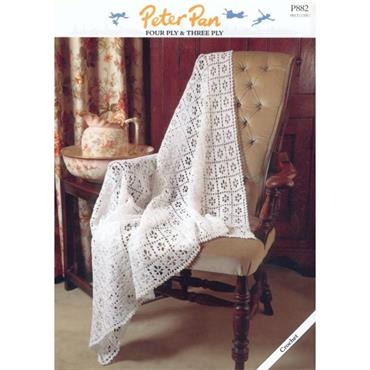 Peter Pan #P882 Crochet Square Shawl in 3ply or 4ply
