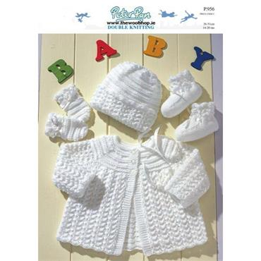 Pattern #956 Matinee Coat, Bonnet, Mittens and Bootees in Baby DK