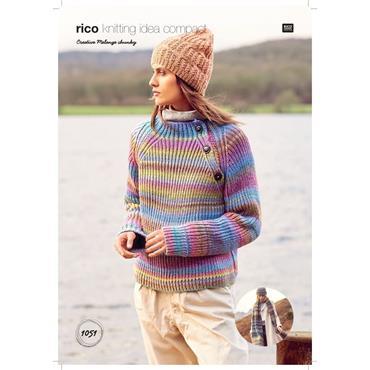 Rico Creative Pattern #1051 Sweater, Hat & Scarf in Creative Melange Chunky
