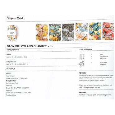 Rico Pattern #989 Baby Pillow & Blanket in Pompon