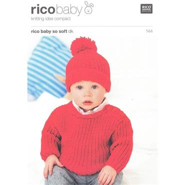 Rico Baby Pattern #144 Sweater & Hat in So Soft DK