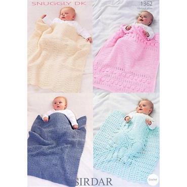 Sirdar Pattern #1362 Crochet Baby Blankets in DK