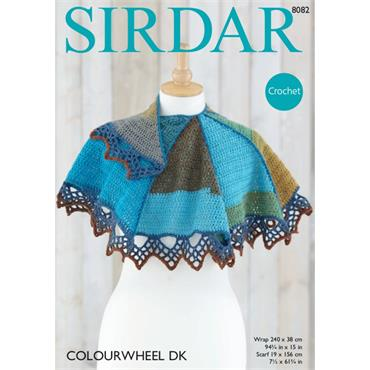 Sirdar Pattern #8082 Crochet Wrap & Scarf in Colourwheel DK