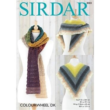 Sirdar Pattern #8083 Wrap & Scarf in Colourwheel DK