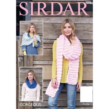 Sirdar Pattern #8096 Snood, Wrap & Scarf in Gorgeous