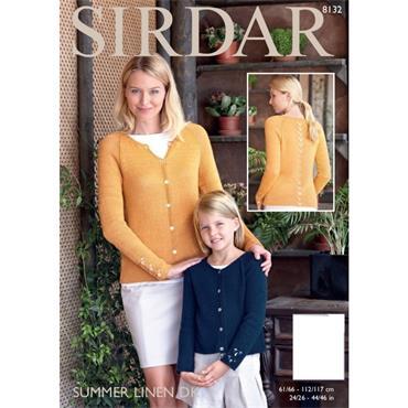 Sirdar Pattern #8132 Cardigan in Summer Linen DK