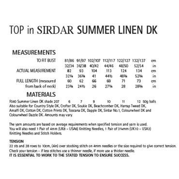 Sirdar Pattern #8133 Top in Summer Linen DK