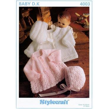 Stylecraft Pattern #4003 Baby Jackets, Bonnet & Helmet in DK
