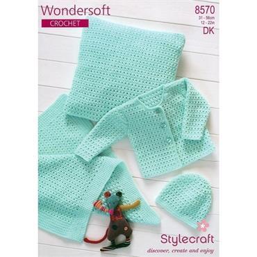 Stylecraft Pattern #8570 Crochet Cardigan, Hat, Blanket & Cushion