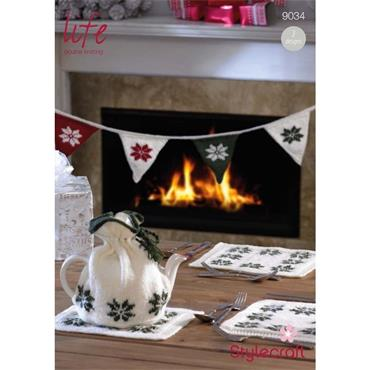 Stylecraft Pattern #9034 Knit Christmas Tea Cosy, Table Mats & Bunting in DK