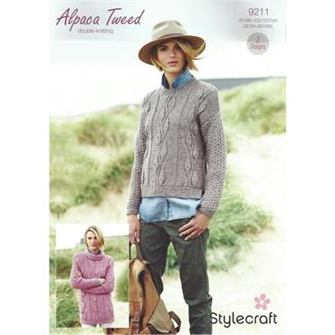 Stylecraft Pattern #9211 Alpaca Tweed DK Sweaters