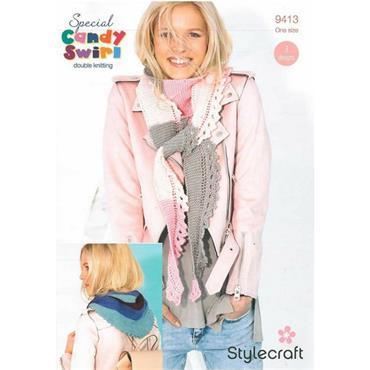 Stylecraft Pattern #9413 Scarves in Candy Swirl DK
