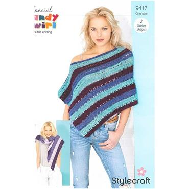 Stylecraft Pattern #9417 Crochet Shawl & Poncho in Candy Swirl DK