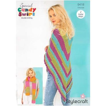 Stylecraft Pattern #9418 Crochet Shawl & Scarf in Candy Swirl DK