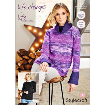 Stylecraft Pattern #9540 Sweaters in Life DK & Life Changes DK