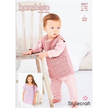 Stylecraft Pattern #9607 Crochet Cabbage Patch Dress in Bambino DK